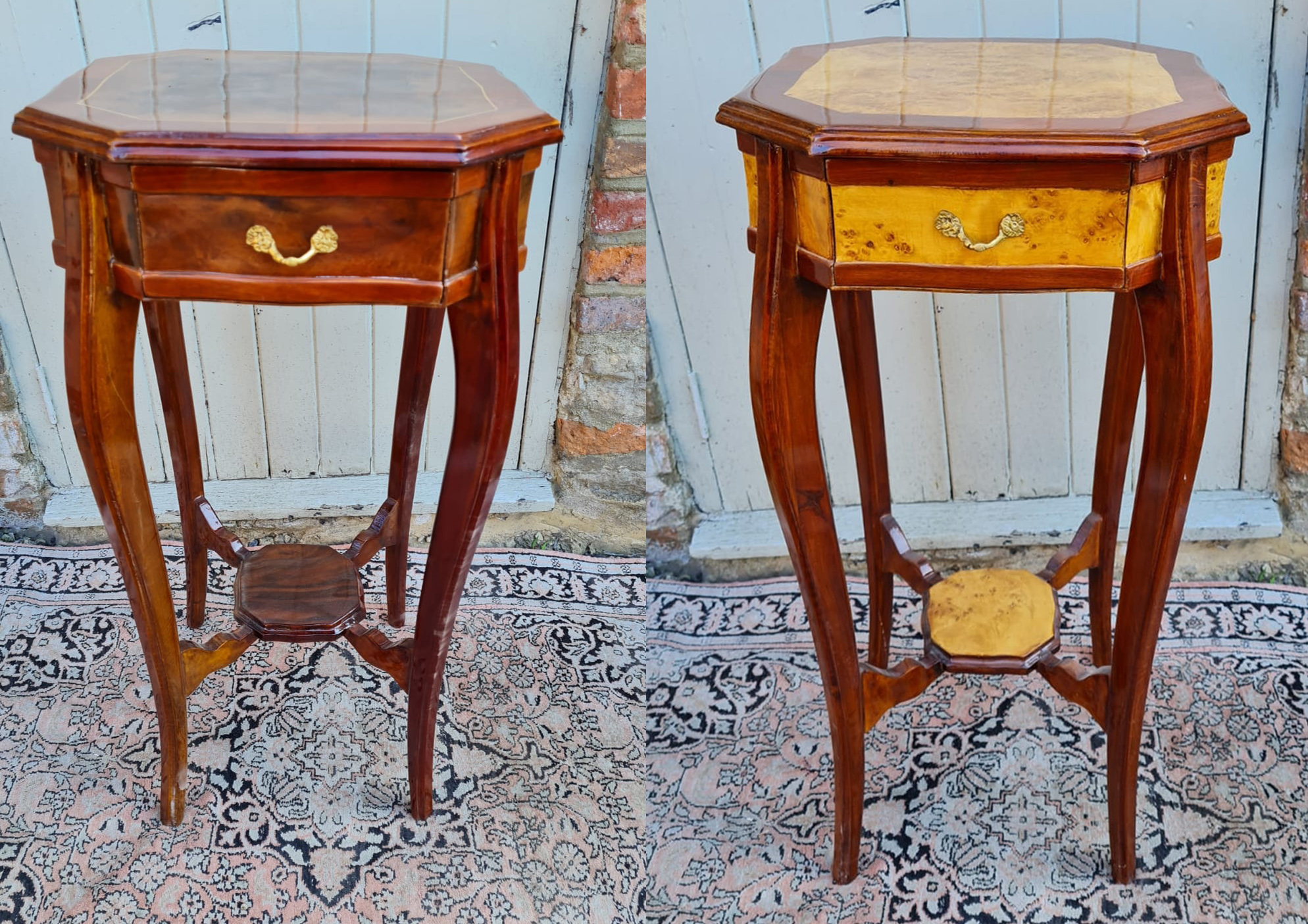 A PAIR OF CONTINENTAL LACQUERED WALNUT AND MAHOGANY SIDE TABLES The hexagonal top above a single