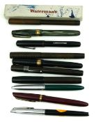 WATERMANS, A COLLECTION OF TEN VINTAGE FOUNTAIN PENS One having a green marbled barrell, seven