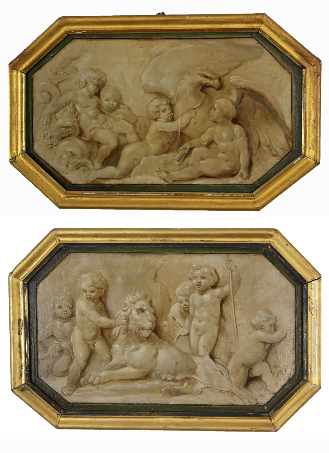 ATTRIBUTED TO JACOB DE WIT, AMSTERDAM, 1695 - 1754, A PAIR OF 18TH CENTURY OILS ON PANEL Putti