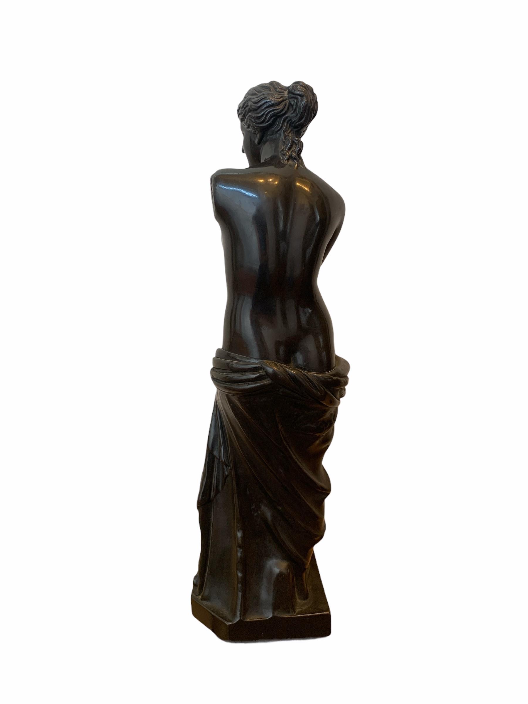 A 19TH CENTURY BRONZE CLAD STATUE OF A NEOCLASSICAL SEMINUDE FEMALE. (h 48cm x d 10.5cm x w 13cm) - Image 3 of 4