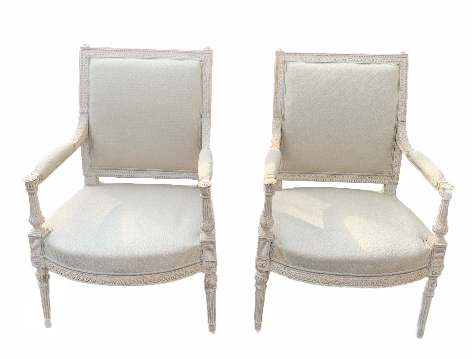 AN 18TH CENTURY LOUIS XVI CARVED WOOD AND PAINTED SALON SUITE Comprising a pair of three seat settee - Image 12 of 12