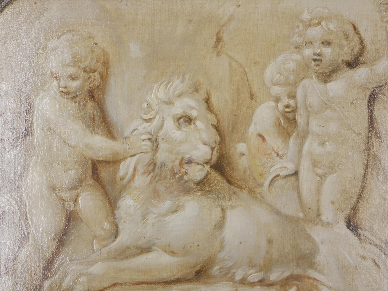ATTRIBUTED TO JACOB DE WIT, AMSTERDAM, 1695 - 1754, A PAIR OF 18TH CENTURY OILS ON PANEL Putti - Image 5 of 9