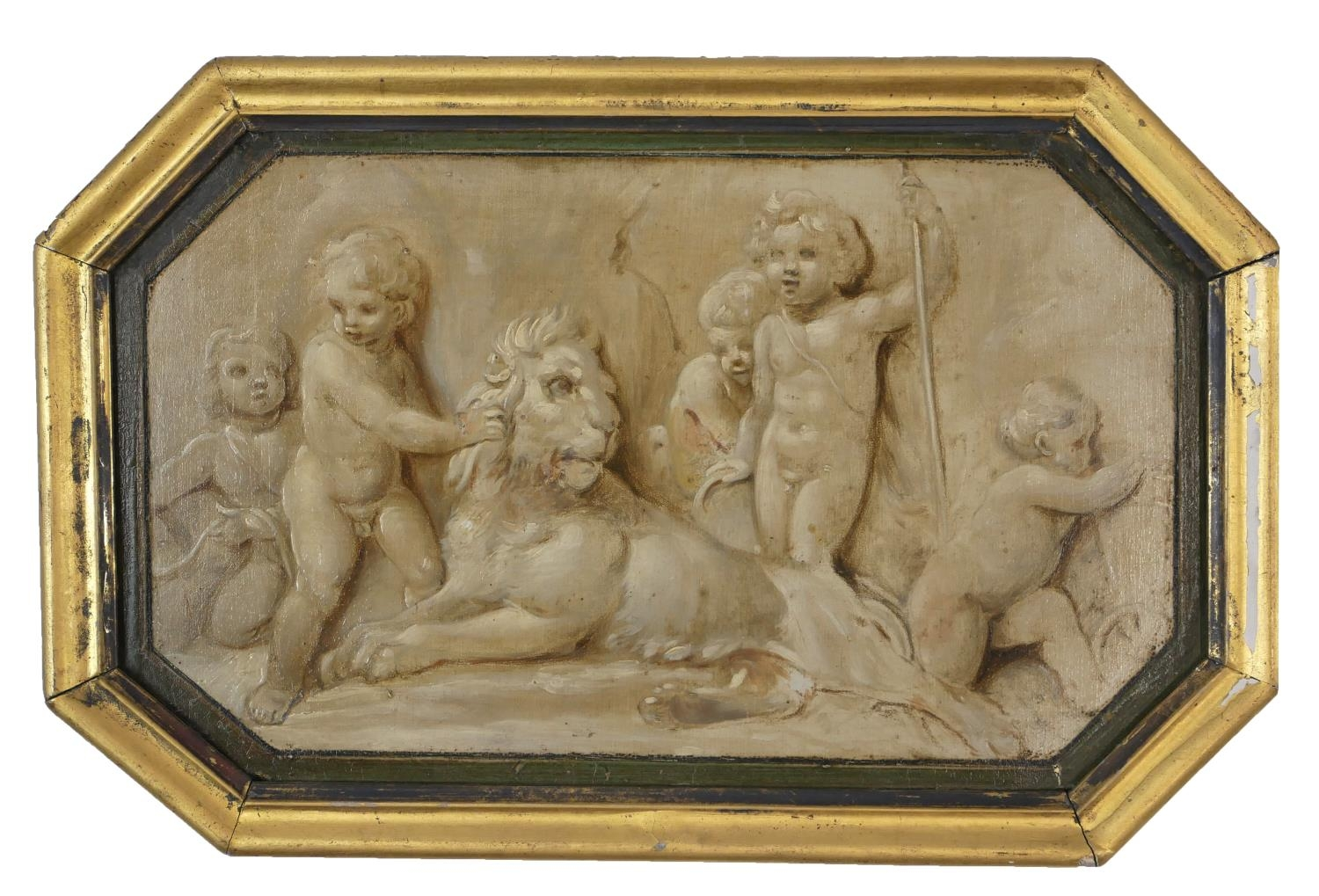 ATTRIBUTED TO JACOB DE WIT, AMSTERDAM, 1695 - 1754, A PAIR OF 18TH CENTURY OILS ON PANEL Putti - Image 2 of 9