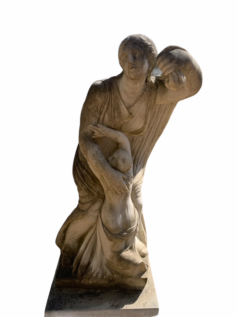 AFTER THE ANTIQUE, A 19TH CENTURY MARBLE STATUE OF NIOBE AND HER YOUNGEST DAUGHTER The robed - Image 2 of 5