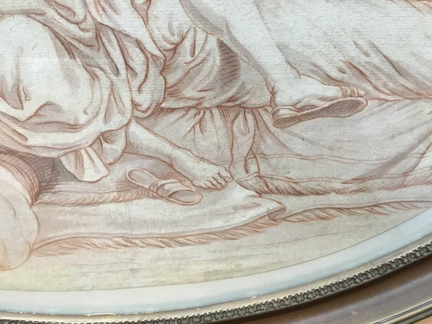 AN 18TH CENTURY ITALIAN SCHOOL PENCIL, PEN AND INK WITH WHITE BODY COLOUR ON OVAL OFF WHITE HANDMADE - Image 3 of 4