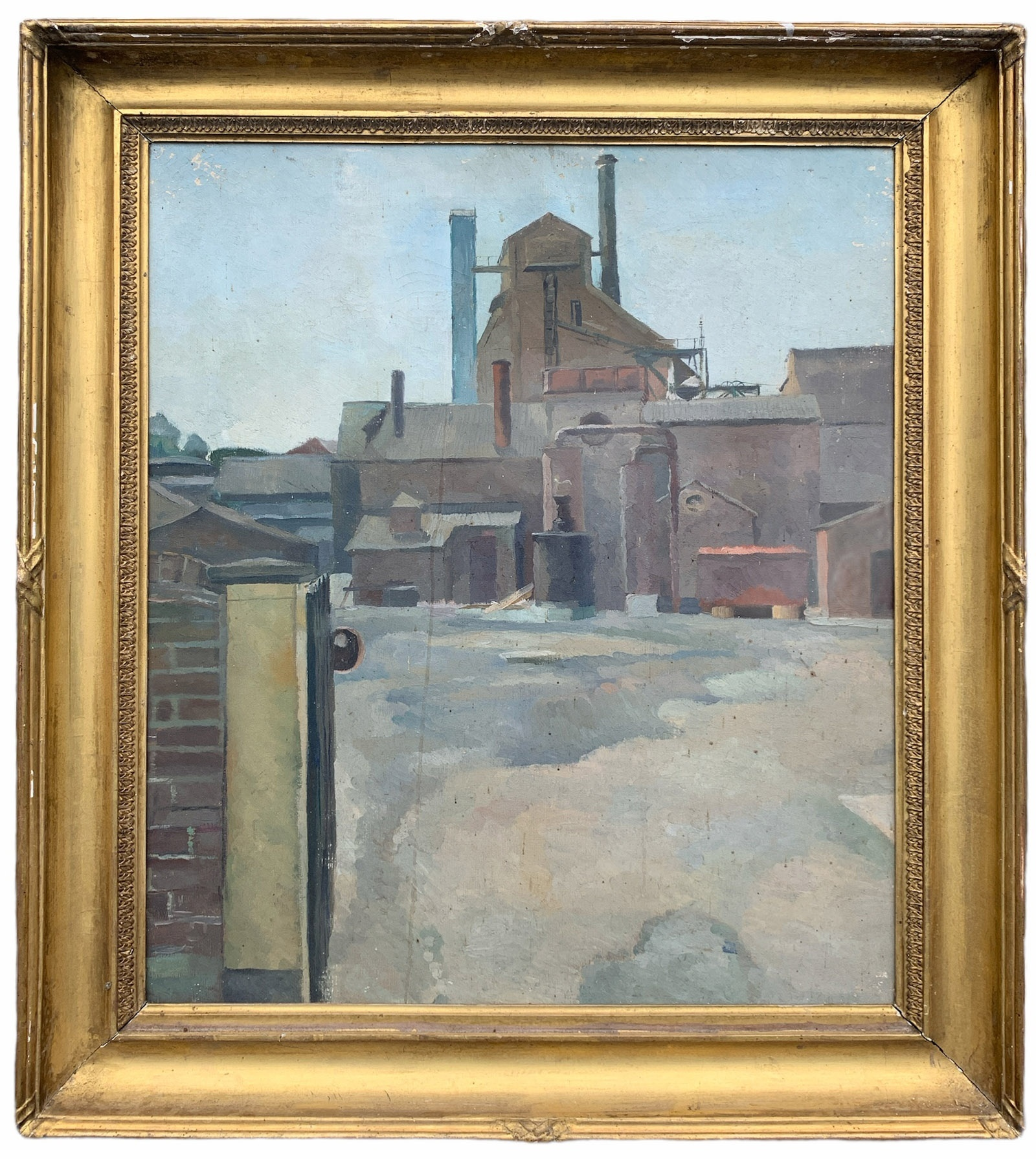 A 20TH CENTURY BRITISH SCHOOL OIL ON CANVAS Industrial landscape, gilt framed. (sight 62cm x 74.5cm,