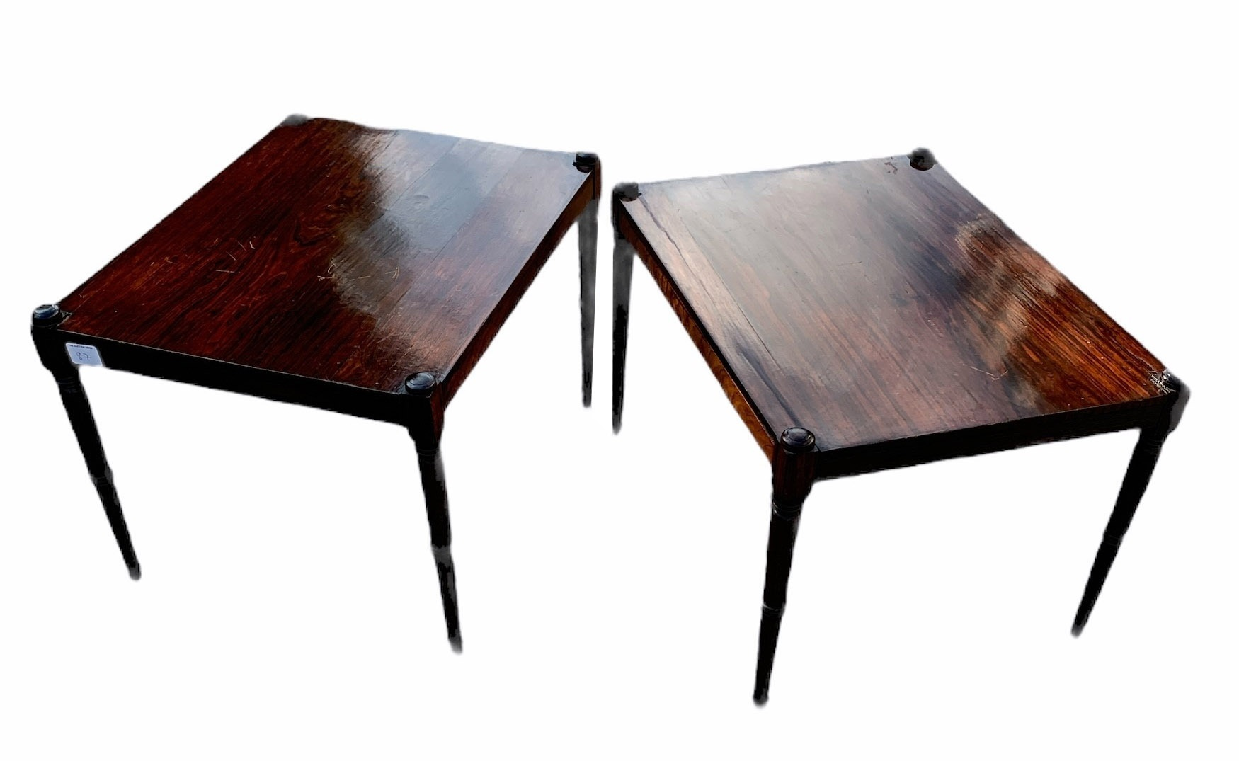 A PAIR OF 19TH CENTURY ROSEWOOD SIDE TABLES Raised on turned legs. (h 32.5cm x d 38.5cm x w 50cm)
