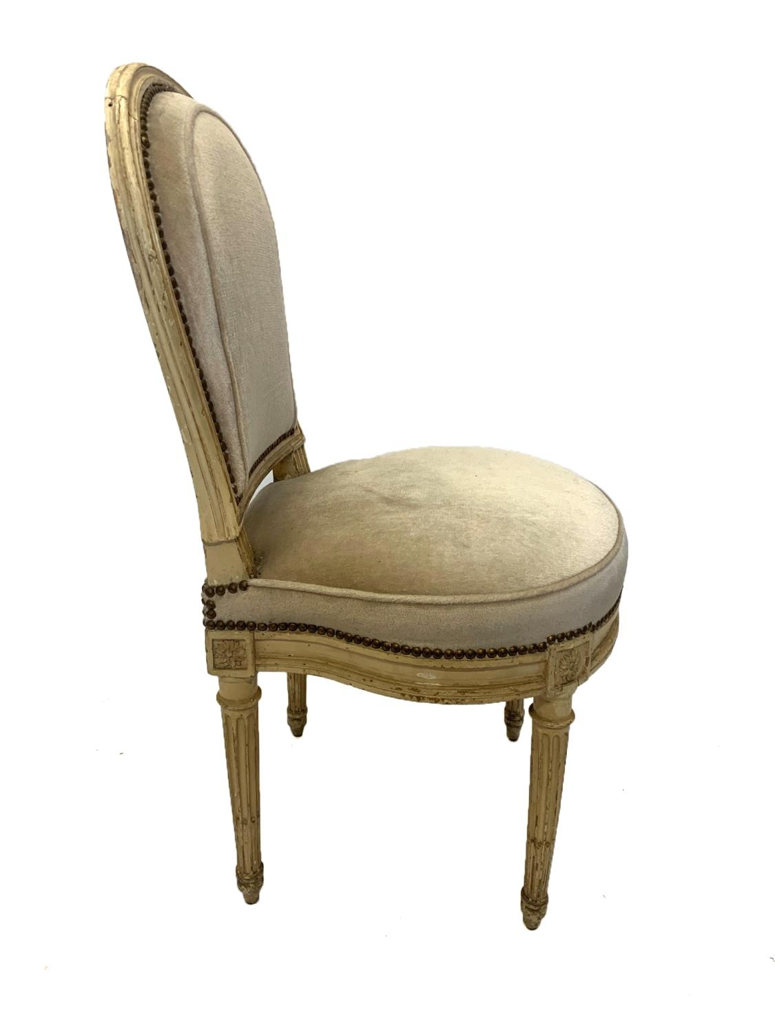 GEORGES JACOB, CIRCA 1775, A RARE SET OF SIX 18TH CENTURY LOUIS XVI PAINTED CARVED WOOD SIDE - Image 5 of 13