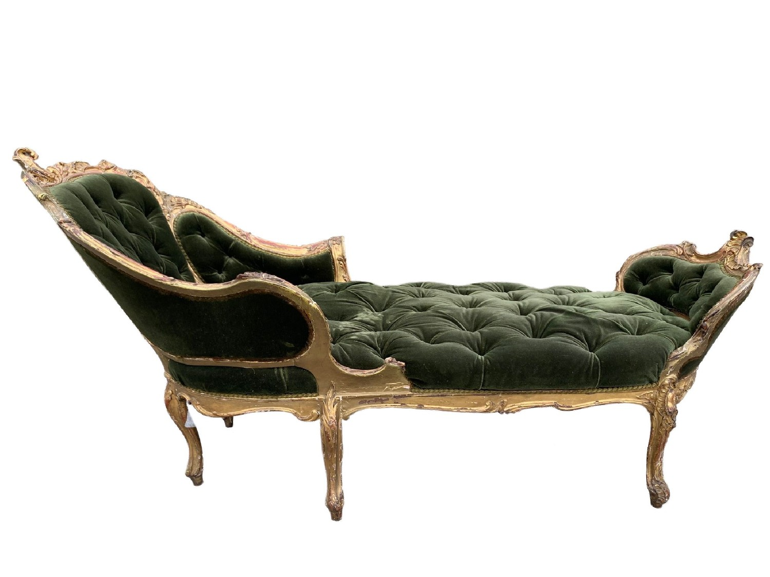 AN 18TH CENTURY FRENCH LOUIS XV ROCOCO CARVED GILTWOOD DUCHESSE DAYBED With button upholstery, frame - Image 2 of 8