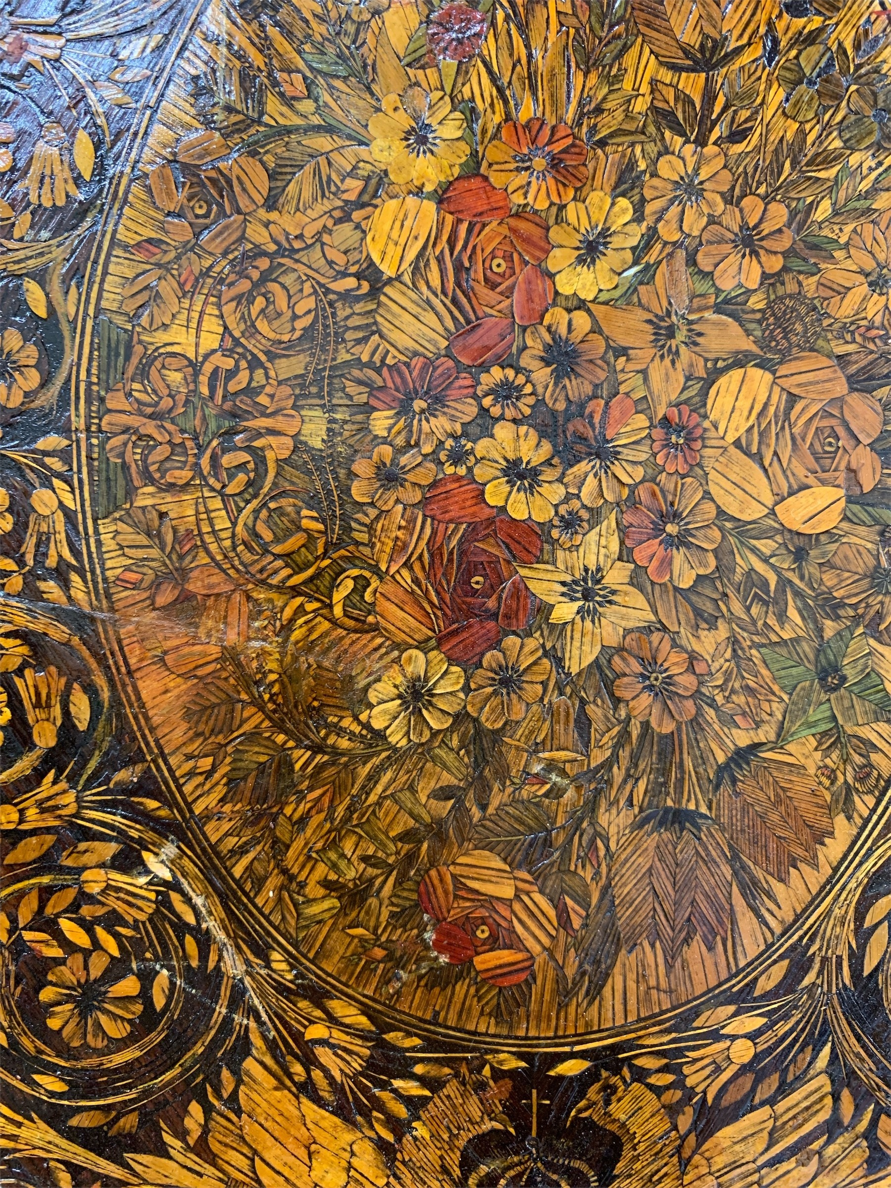 A 19TH CENTURY STRAW WORK PANEL Decorated with birds, flowers and foliage. (35cm x 45cm) - Image 2 of 3