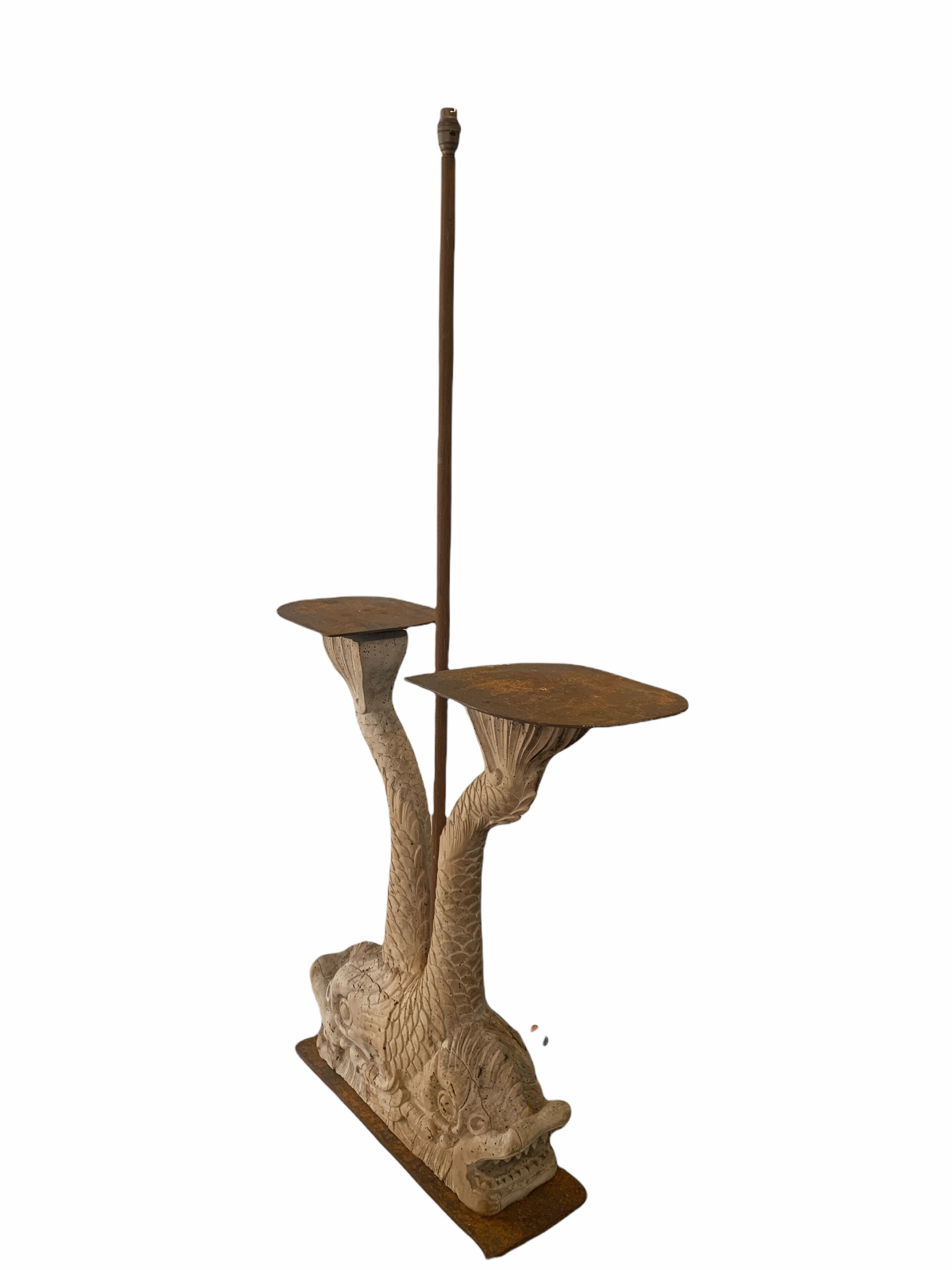 A DECORATIVE 19TH CENTURY & LATER CARVED WOOD OCCASIONAL LAMP TABLE FORMED AS TWO DIVING - Image 2 of 2