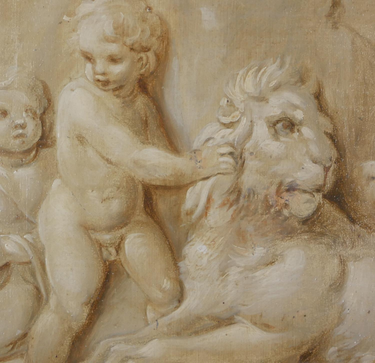 ATTRIBUTED TO JACOB DE WIT, AMSTERDAM, 1695 - 1754, A PAIR OF 18TH CENTURY OILS ON PANEL Putti - Image 6 of 9
