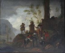 PHILIPS WOUWERMAN, HAARLEM, 1619 - 1668, 17TH CENTURY OIL ON CANVAS 'The Departure of Hunters near a