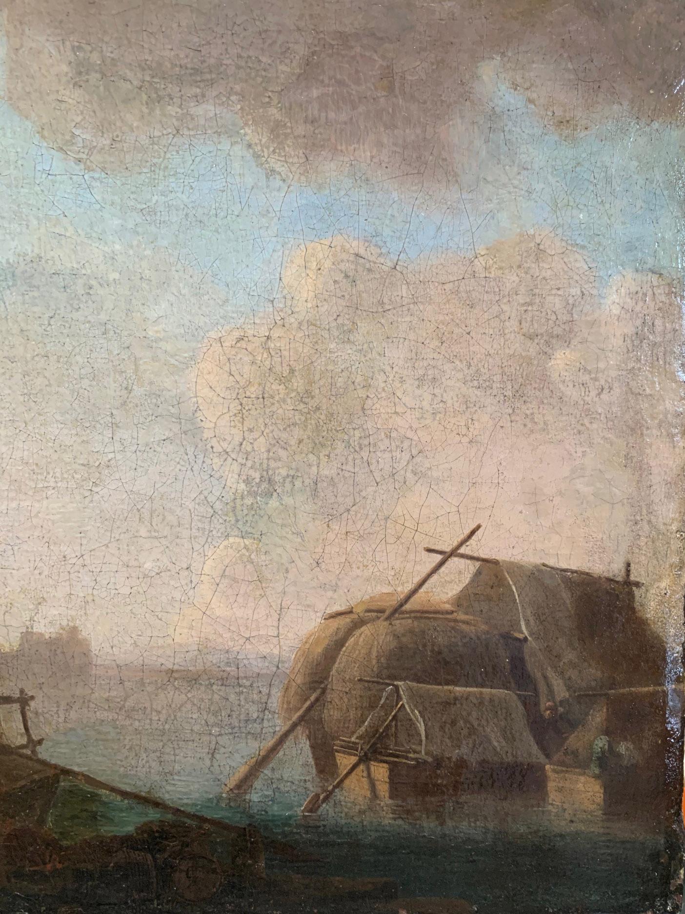 CIRCLE OF JAN VAN GOYEN, LEIDEN, 1596 - 1656, THE HAGUE, 17TH CENTURY OIL ON CANVAS River landscape, - Image 5 of 12