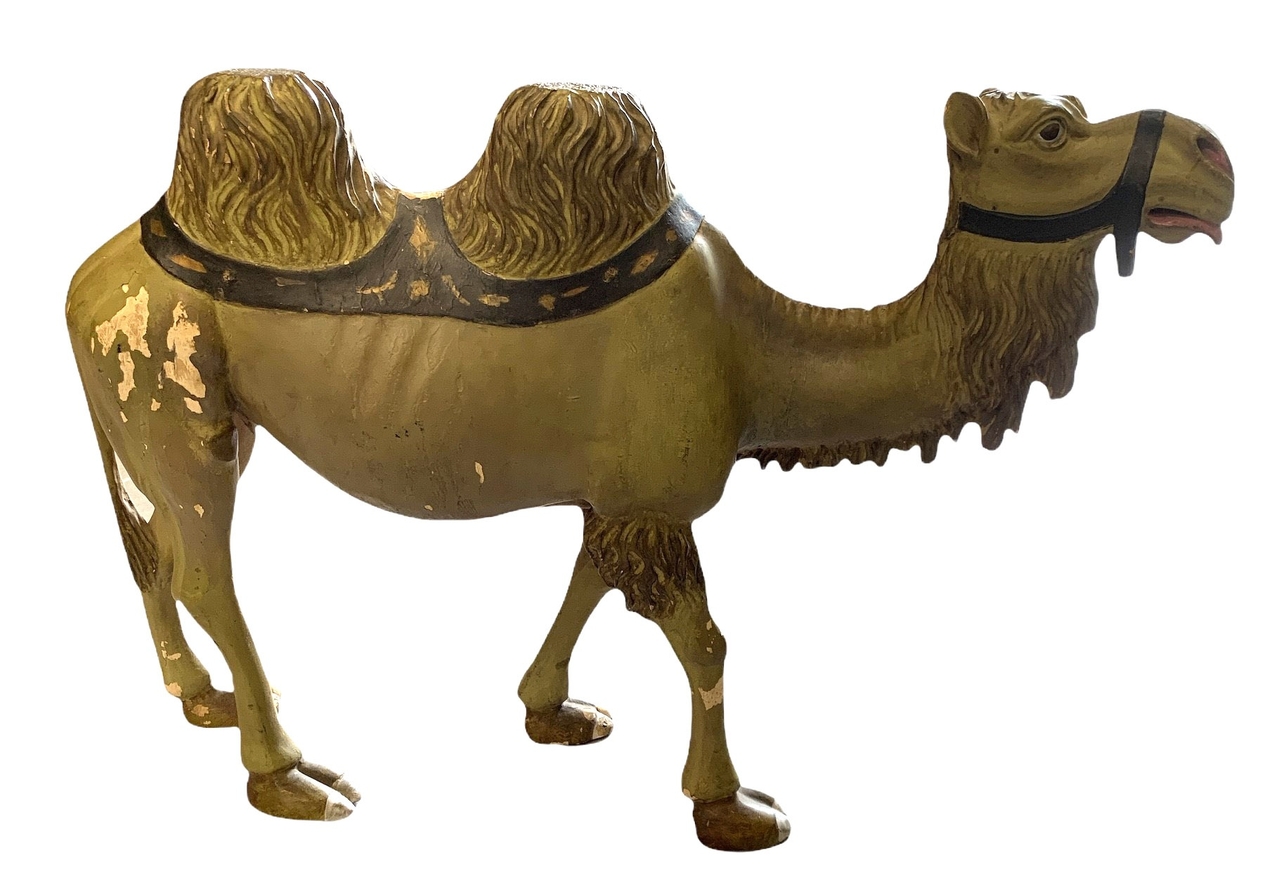 AN EARLY 20TH CENTURY CARVED WOOD AND PAINTED HUMPBACK CAMEL. (h 41cm x w 56cm)