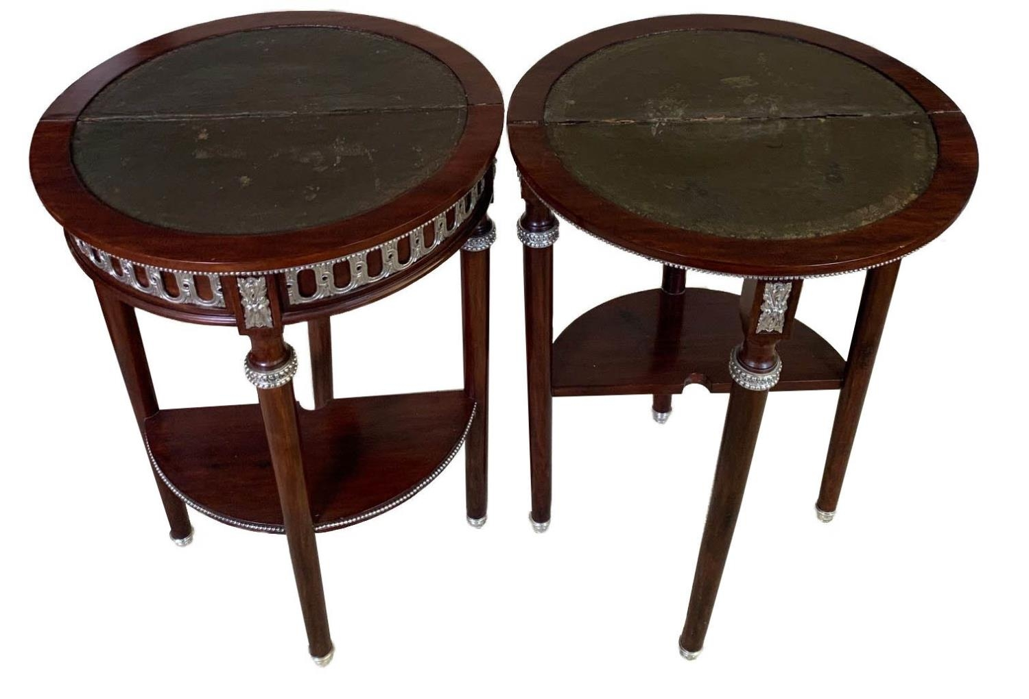 A PAIR OF EARLY 20TH CENTURY LOUIS XVI STYLE AMBOYNA AND MAHOGANY DEMILUNE CARD TABLES The hinge - Image 2 of 3