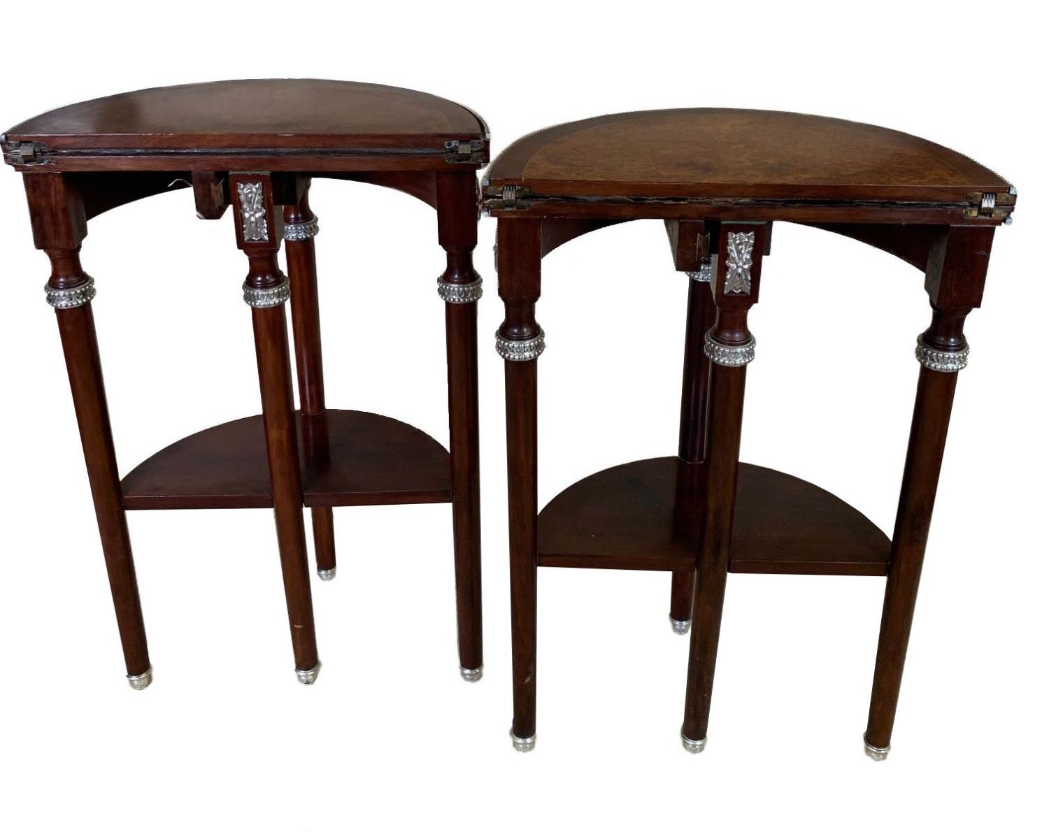 A PAIR OF EARLY 20TH CENTURY LOUIS XVI STYLE AMBOYNA AND MAHOGANY DEMILUNE CARD TABLES The hinge - Image 3 of 3