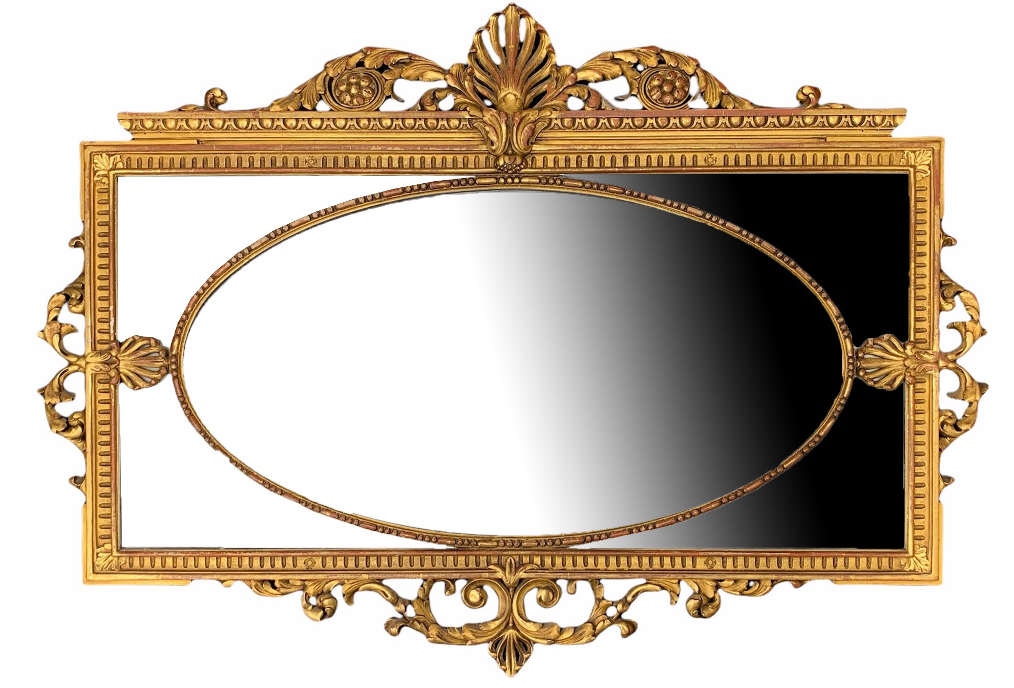 MANNER OF ROBERT ADAM, A LATE 19TH CENTURY CARVED GILTWOOD MIRROR Decorated with scrolling