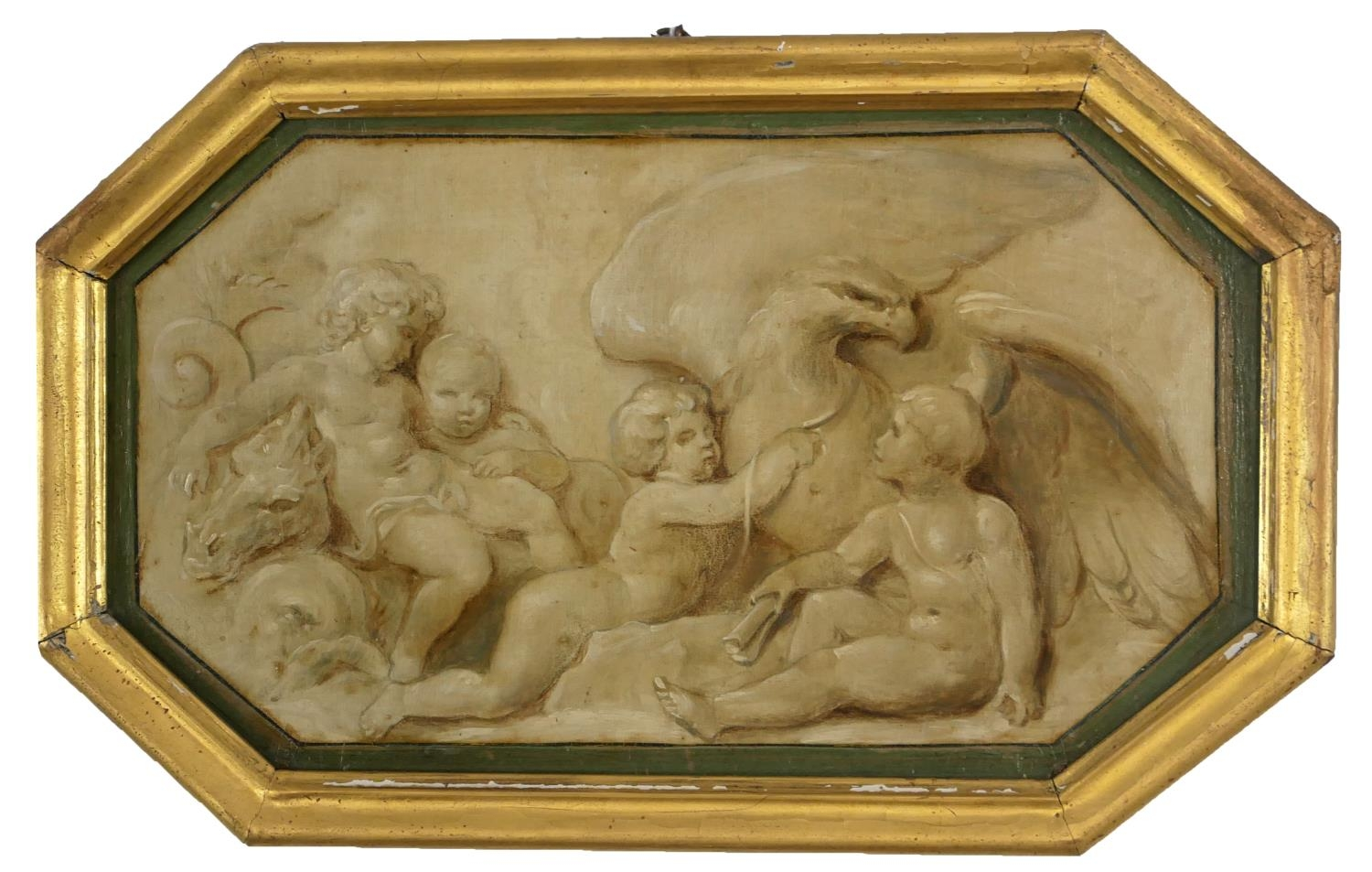 ATTRIBUTED TO JACOB DE WIT, AMSTERDAM, 1695 - 1754, A PAIR OF 18TH CENTURY OILS ON PANEL Putti - Image 3 of 9