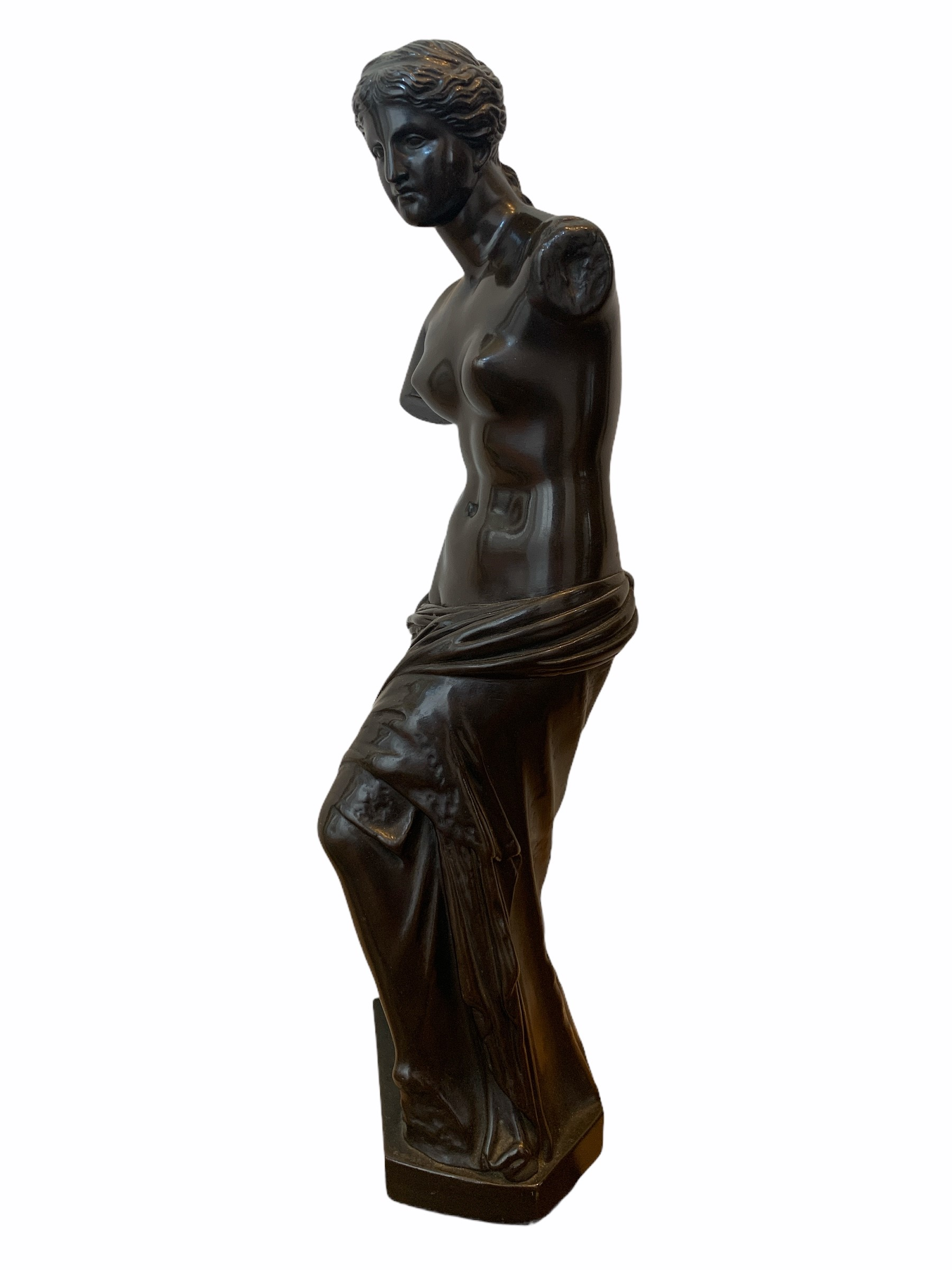 A 19TH CENTURY BRONZE CLAD STATUE OF A NEOCLASSICAL SEMINUDE FEMALE. (h 48cm x d 10.5cm x w 13cm) - Image 2 of 4
