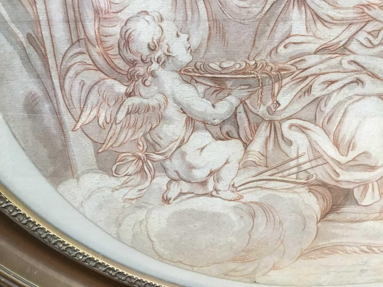 AN 18TH CENTURY ITALIAN SCHOOL PENCIL, PEN AND INK WITH WHITE BODY COLOUR ON OVAL OFF WHITE HANDMADE - Image 4 of 4