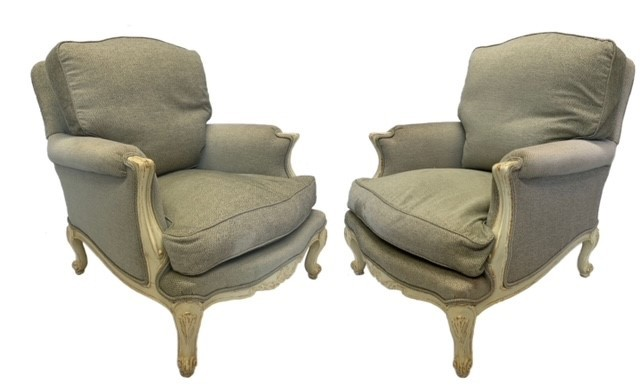 A PAIR OF DECORATIVE LOUIS XV DESIGN PAINTED CARVED WOOD AND UPHOLSTERED ARMCHAIRS Raised on