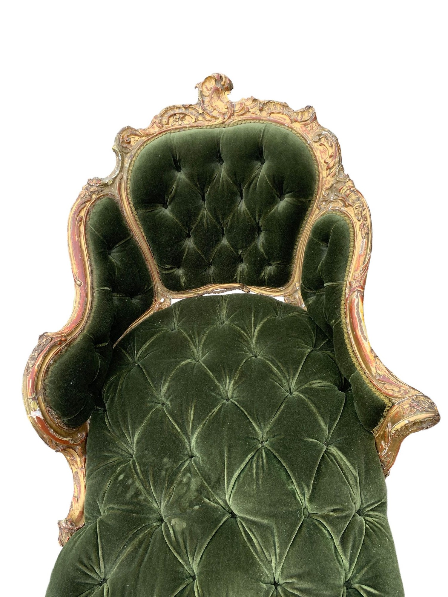 AN 18TH CENTURY FRENCH LOUIS XV ROCOCO CARVED GILTWOOD DUCHESSE DAYBED With button upholstery, frame - Image 6 of 8