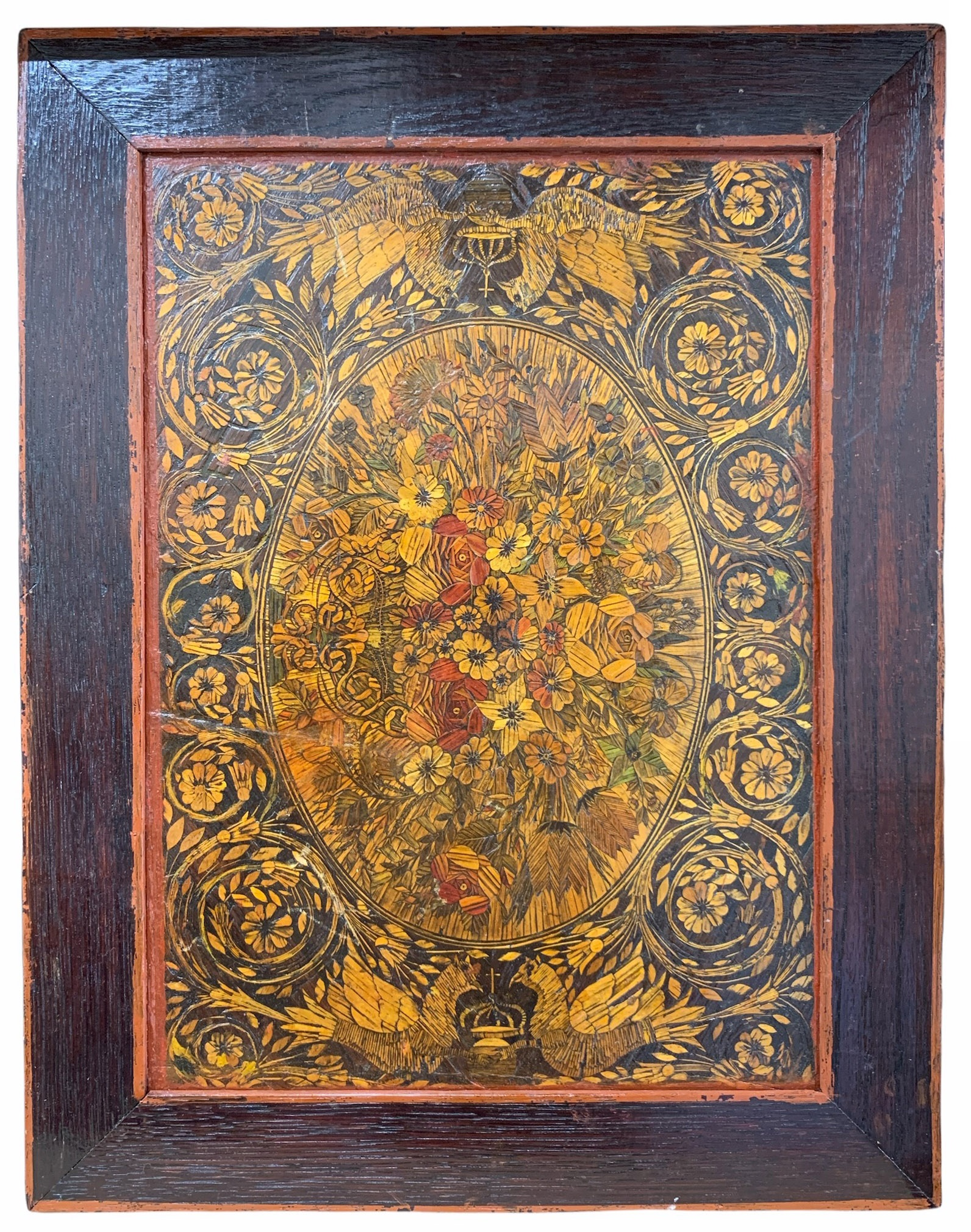 A 19TH CENTURY STRAW WORK PANEL Decorated with birds, flowers and foliage. (35cm x 45cm)
