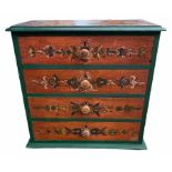 A 19TH CENTURY CONTINENTAL DECORATIVE PAINTED PINE CHEST OF FOUR DRAWERS Applied with knob