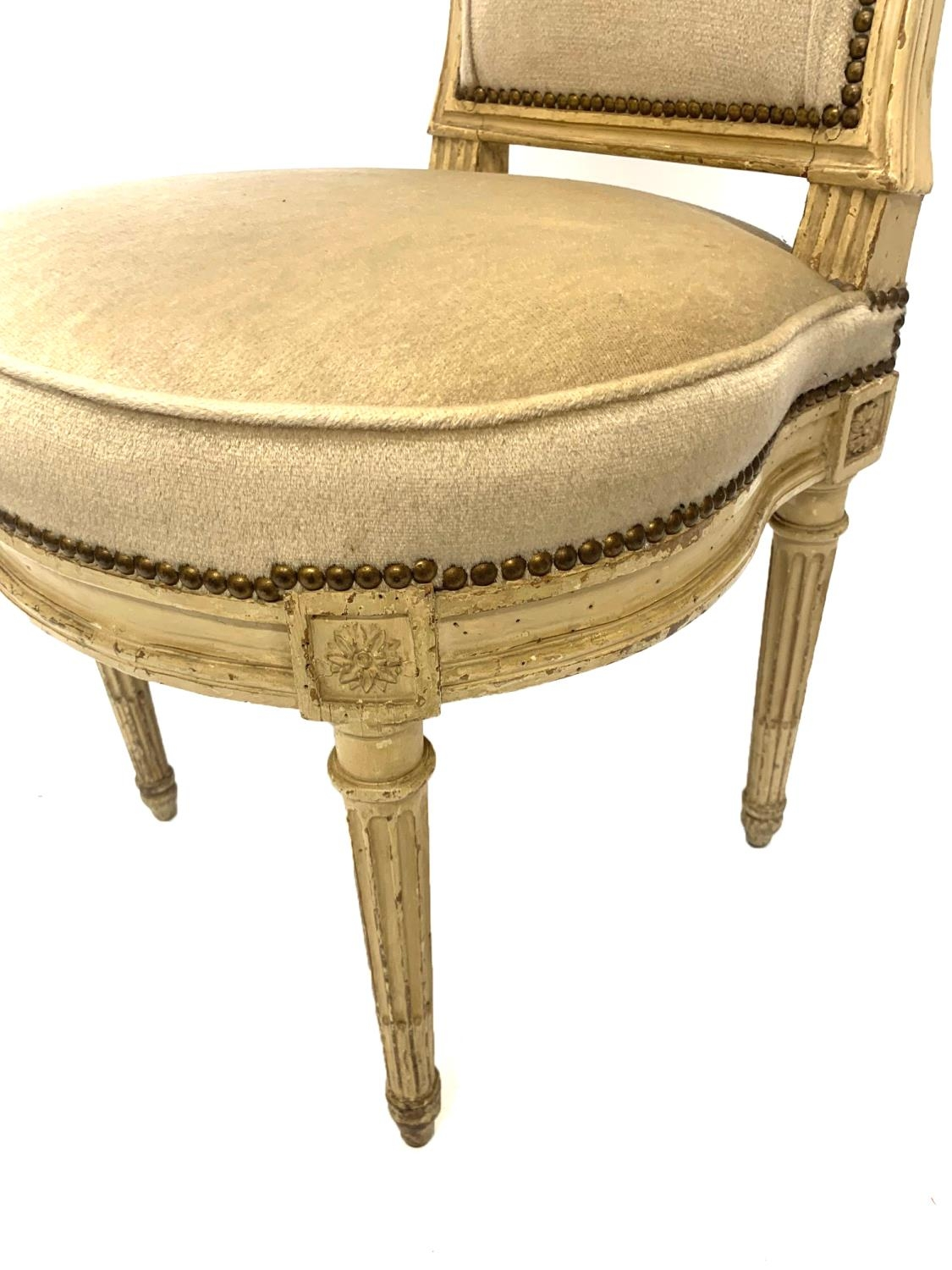 GEORGES JACOB, CIRCA 1775, A RARE SET OF SIX 18TH CENTURY LOUIS XVI PAINTED CARVED WOOD SIDE - Image 8 of 13