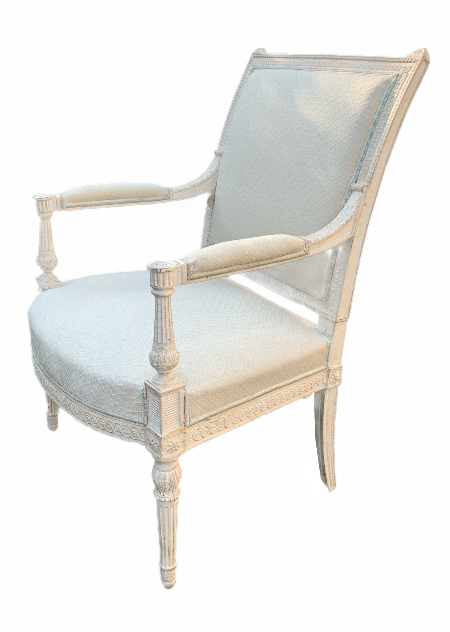 AN 18TH CENTURY LOUIS XVI CARVED WOOD AND PAINTED SALON SUITE Comprising a pair of three seat settee - Image 2 of 12
