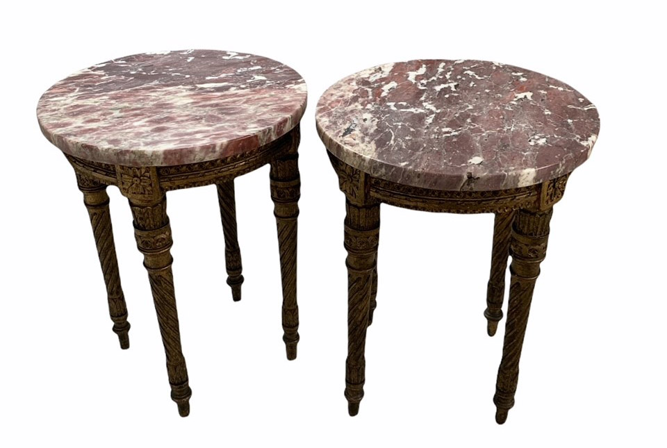 A PAIR OF 19TH CENTURY LOUIS XVI DESIGN CARVED GILTWOOD CIRCULAR OCCASIONAL TABLES With marble tops, - Image 2 of 4