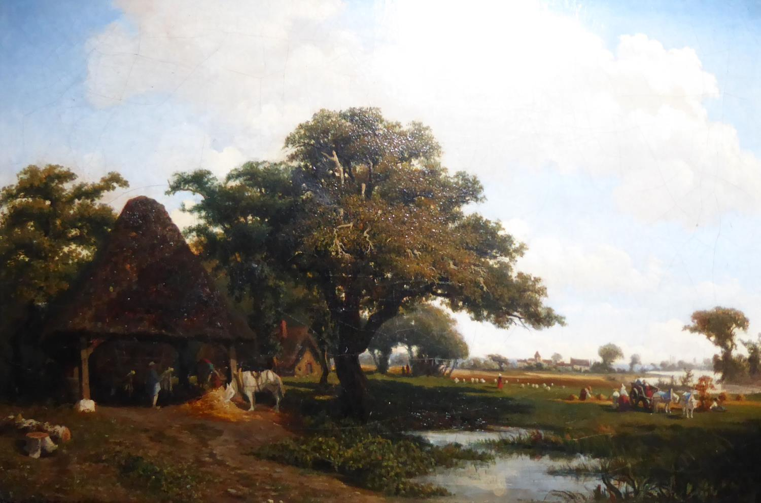 CHARLES THÉODORE-FRÈRE, 1814 - 1888, AN EARLY 19TH CENTURY OIL ON CANVAS Riverside landscape, with