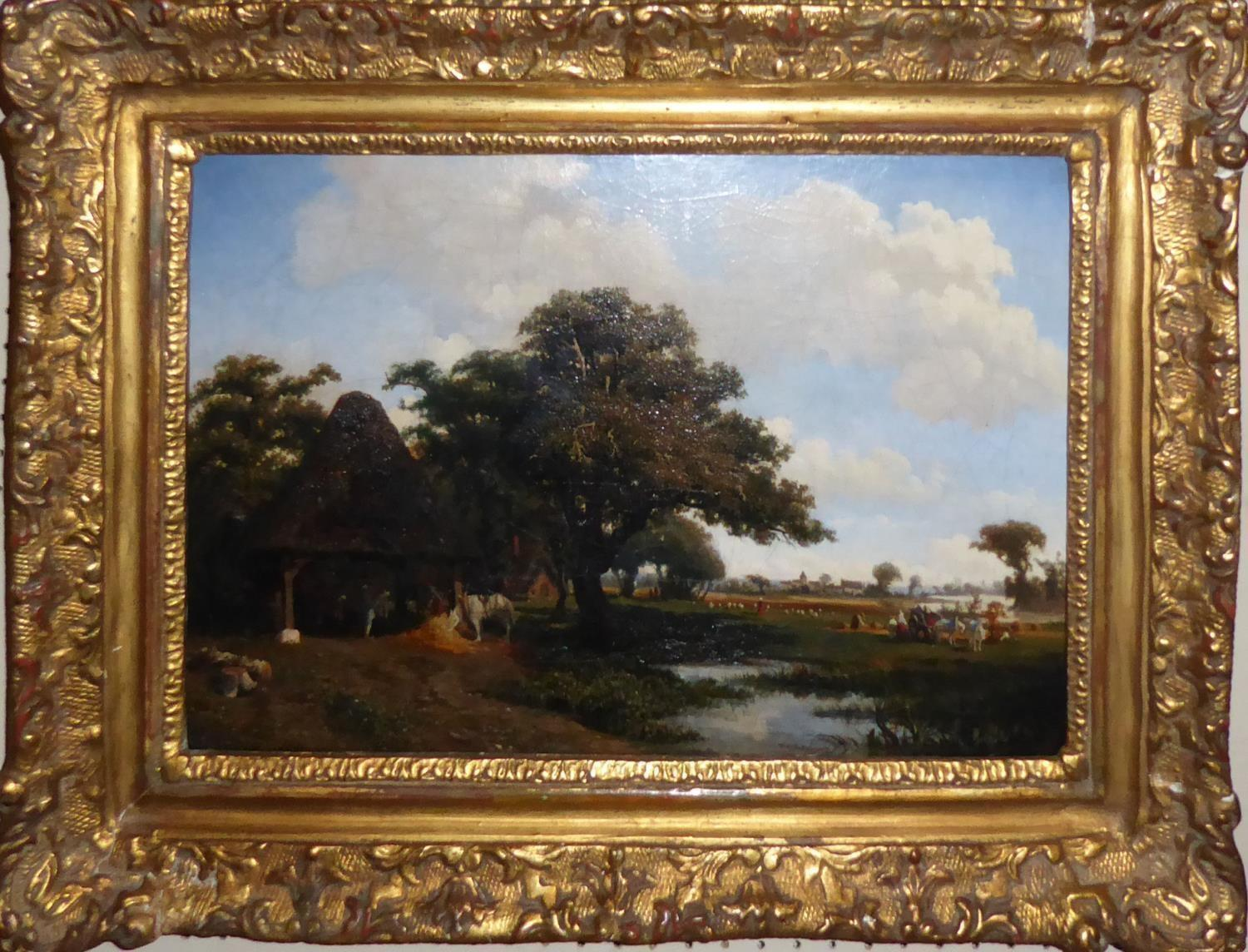 CHARLES THÉODORE-FRÈRE, 1814 - 1888, AN EARLY 19TH CENTURY OIL ON CANVAS Riverside landscape, with - Image 2 of 4