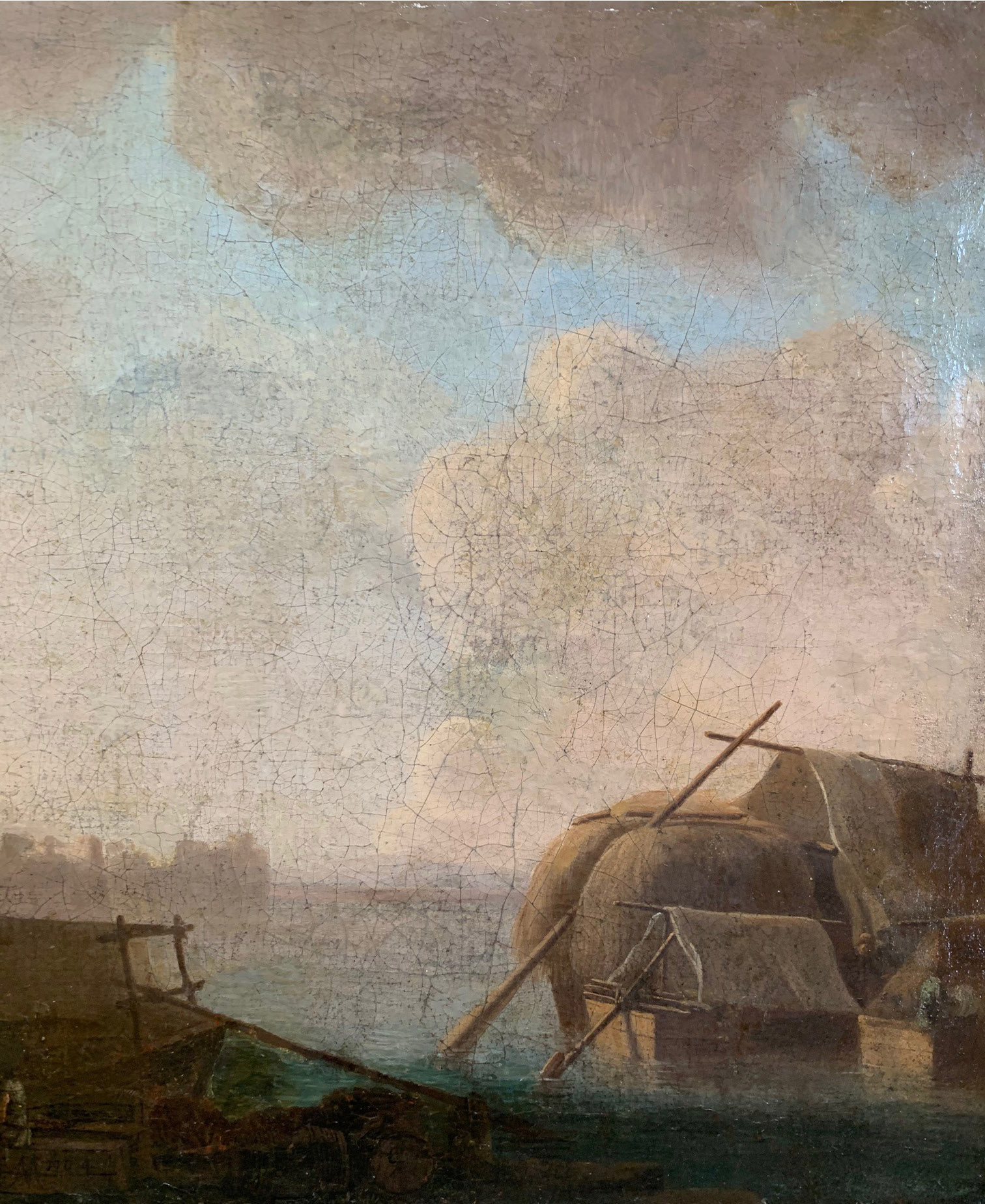 CIRCLE OF JAN VAN GOYEN, LEIDEN, 1596 - 1656, THE HAGUE, 17TH CENTURY OIL ON CANVAS River landscape, - Image 4 of 12