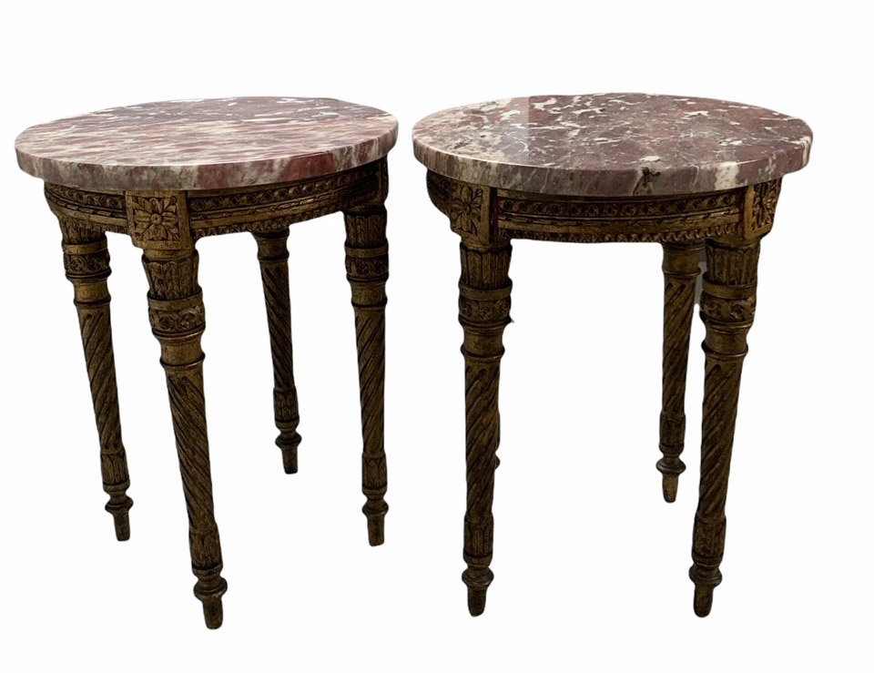 A PAIR OF 19TH CENTURY LOUIS XVI DESIGN CARVED GILTWOOD CIRCULAR OCCASIONAL TABLES With marble tops,