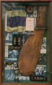 YACHTING INTEREST, A VINTAGE WALL MOUNTED GLAZED DIORAMA DISPLAY Containing brass and teak rudder