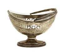 A George lll oval silver sugar basket
