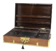 A large Indian padouk and brass-mounted writing box,