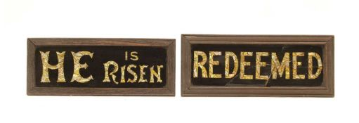 Two reverse painted glass and mother of pearl church signs