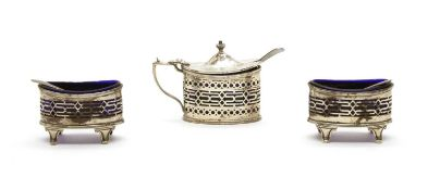 A silver three piece cruet set,