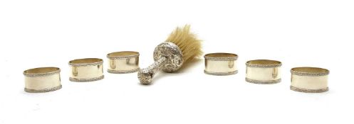 A set of six silver napkin rings,
