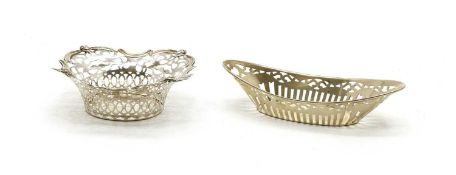 Two pierced sterling silver bon bon dishes