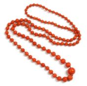 A single row graduated coral bead necklace,