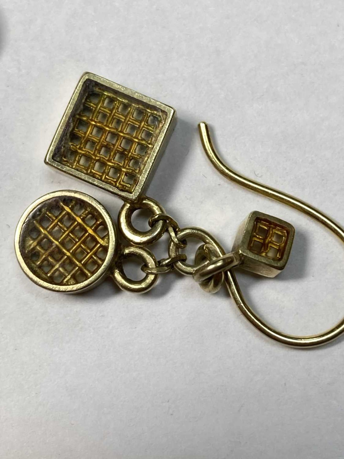 A pair of silver gilt drop earrings, - Image 6 of 8