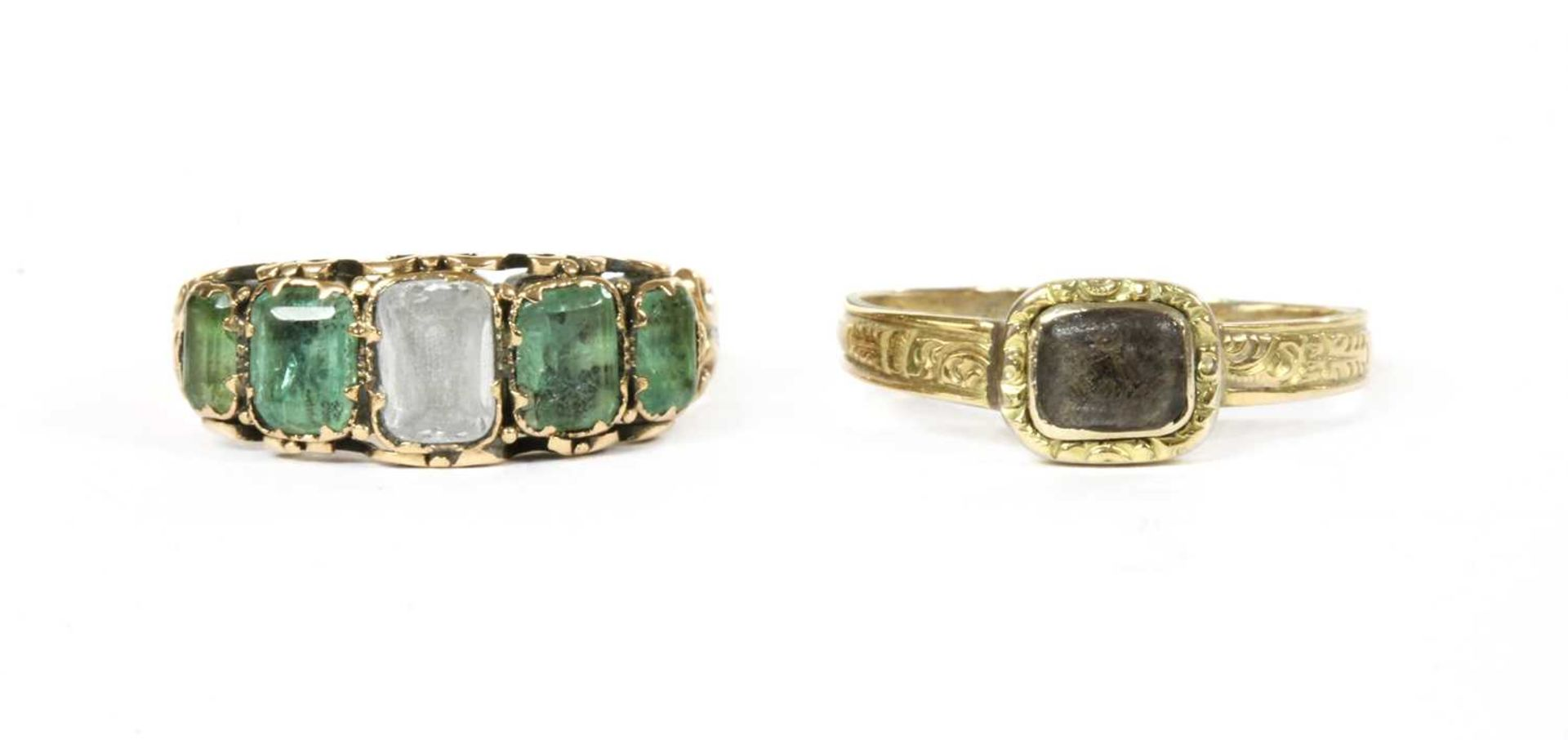 A Victorian gold white gemstone and emerald ring,