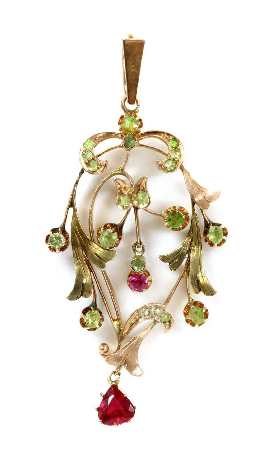 A Russian gold demantoid garnet and synthetic ruby pendant,