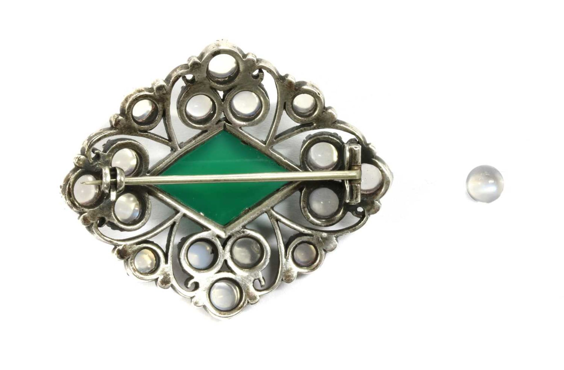 An Arts & Crafts silver dyed green agate and moonstone brooch, - Image 2 of 2