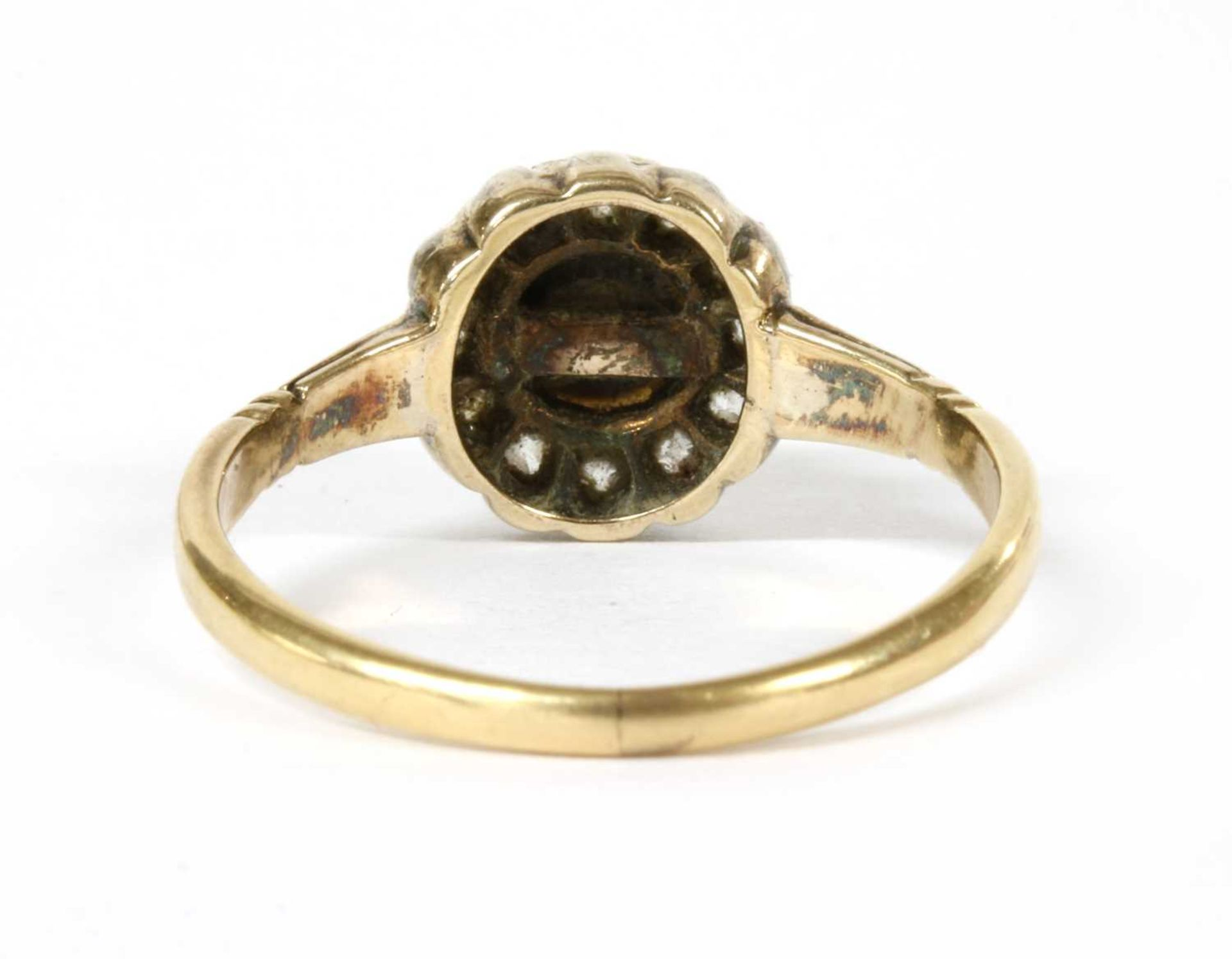 A gold pearl and diamond cluster ring, - Image 2 of 4
