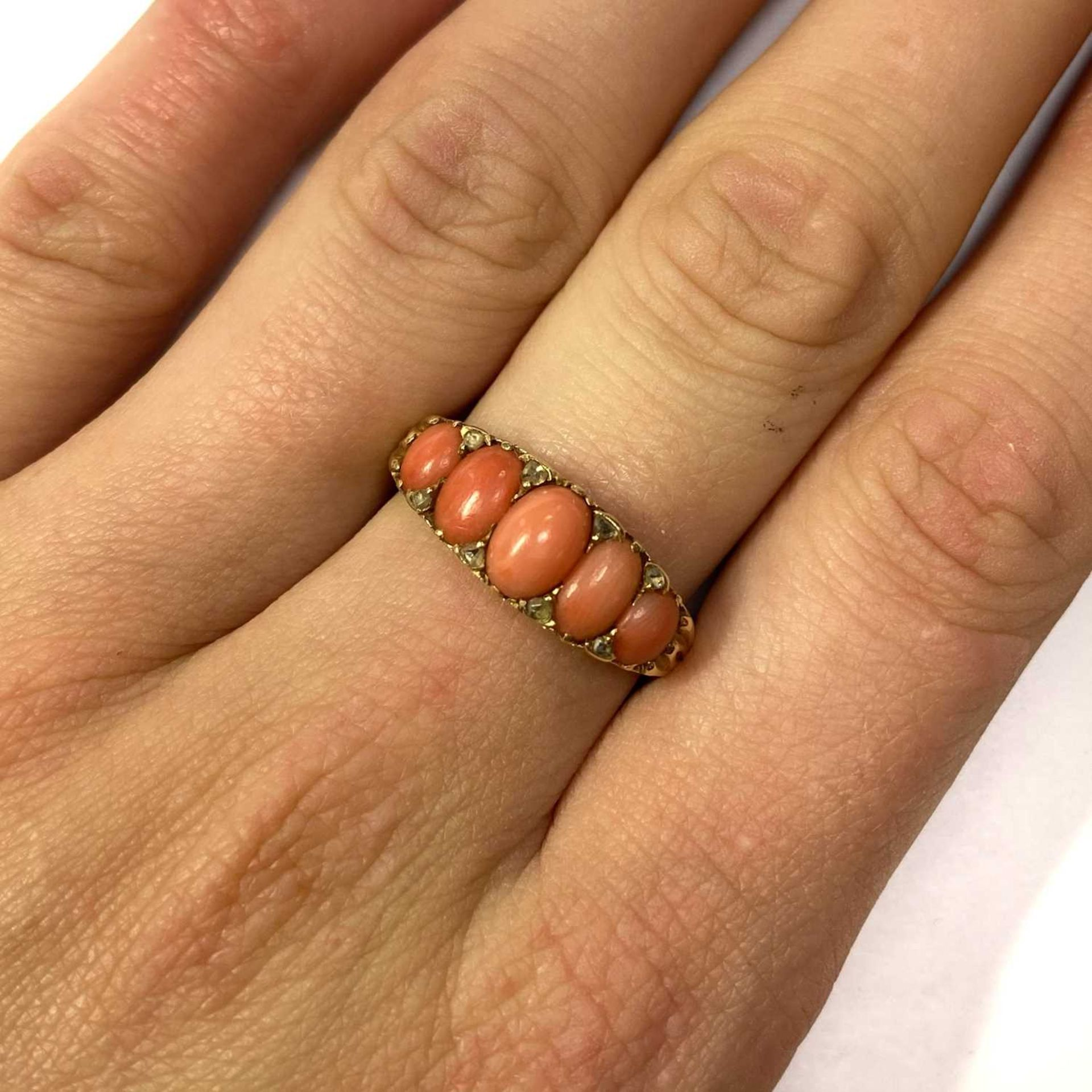 A Victorian gold five stone coral and diamond ring, - Image 4 of 4